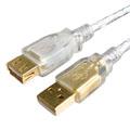 USB2.0傳輸線 AM/AF鍍金頭透明色 5M