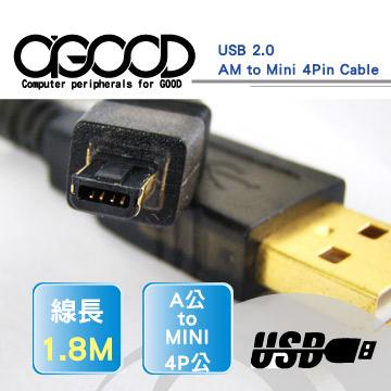 買一送一【A-GOOD】USB2.0 A公轉Mini4P 1.8米(1.8M) 轉接線