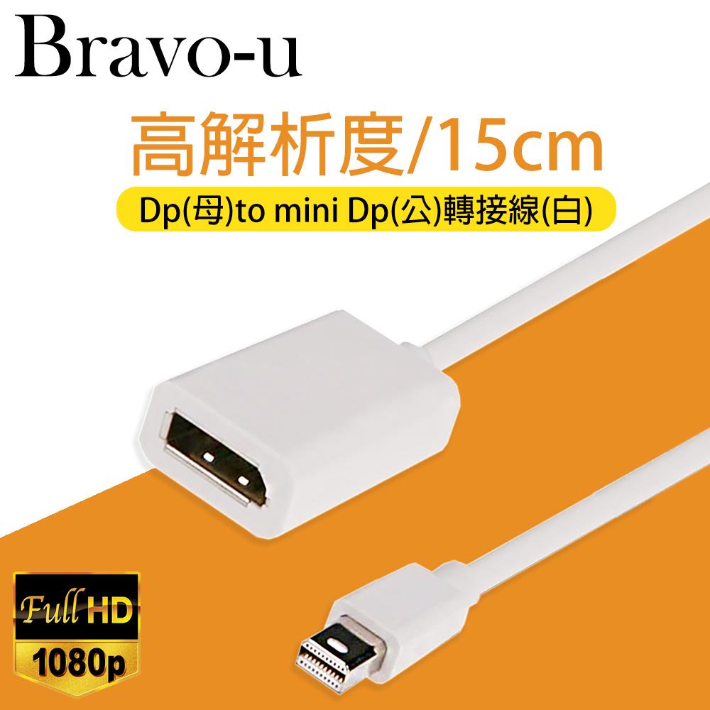 Bravo-u Displayport(母)to mini Displayport(公)轉接線15cm(白)