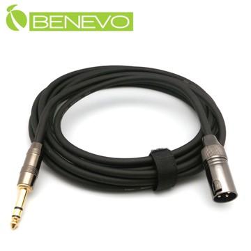 BENEVO專業級 5米 6.3MM TRS公頭轉XLR(Cannon接頭)公頭 平衡式音訊連接線 (BAU05046XM)