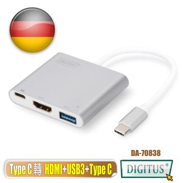 曜兆DIGITUS Type-C 轉 HDMI 4K 三合一螢幕轉接器(HDMI4K2K+USB3.0+Type C)