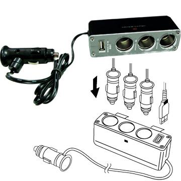 USB+3孔車用點煙器 / 擴充器 (黑色)