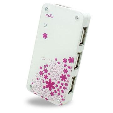 aibo USB 2.0 心花朵朵壓克力造型 4埠 HUB集線器