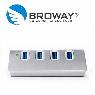 ★限量送雙孔充電器★BROWAY USB3.0 4埠集線器 全鋁合金 晶鑽銀