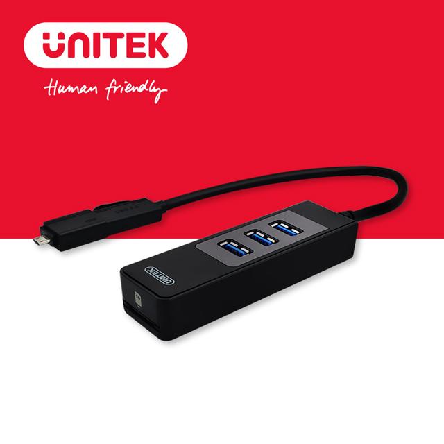 UNITEK 優越者USB3.0 3Port Hub讀卡機 + OTG轉接器