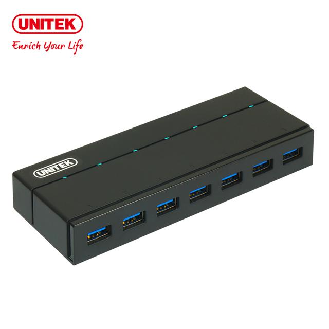 ★限量送雙孔充電器★UNITEK 優越者 7埠 USB3.0 開關式Hub集線器(Y-3184)