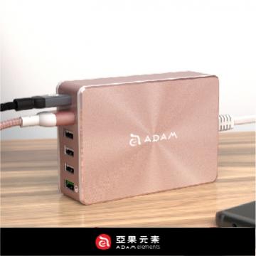 支援4倍速快充【亞果元素】OMNIA PA601 旅行萬用 USB / QC3.0 / Type-C 獨立6合一多功能充電器 玫瑰金