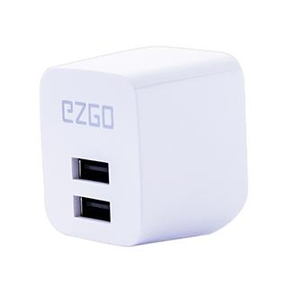 EZGO雙USB可折疊2.4A BSMI認証急速充電器-時尚白