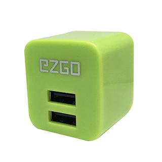 EZGO雙USB可折疊2.4A BSMI認証急速充電器-夜光綠