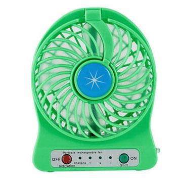 迷你觸控LED燈三段式風扇 綠色