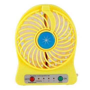 迷你觸控LED燈三段式風扇 黃色