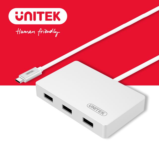 ★限量送雙孔充電器★UNITEK 優越者Type-C轉USB3.0HUB(OTG)Y-3190