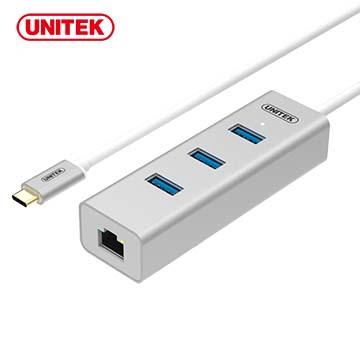 ★限量送雙孔充電器★UNITEK 優越者Type-C轉千兆網卡+3埠USB3.0集線器(Y-3189SL)