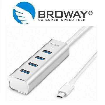 ★限量送雙孔充電器★BROWAY BW-H4072C USB 3.1 Type-C 轉 USB3.0 4埠 集線器 鋁合金 時尚銀
