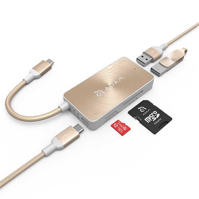 ★限量送雙孔充電器★【亞果元素】CASA HUB PDC501 USB3.1 Type-C 5合1 80W 多功能充電傳輸讀卡機 金