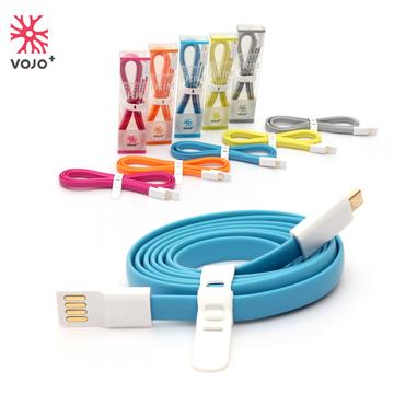 VOJO+ Micro USB 彩色傳輸扁線(藍)-1.2M-★一年保固 品質有保證 可安心購買