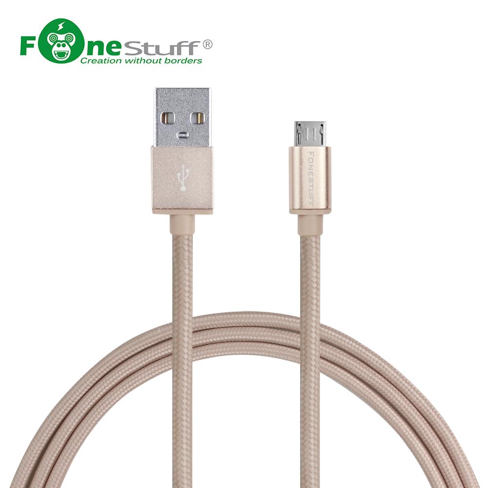 高傳導純銅線, 高效充電傳輸 FONESTUFF瘋金剛FSL006-G Micro USB編織鋁合金一米傳輸線-玫瑰金