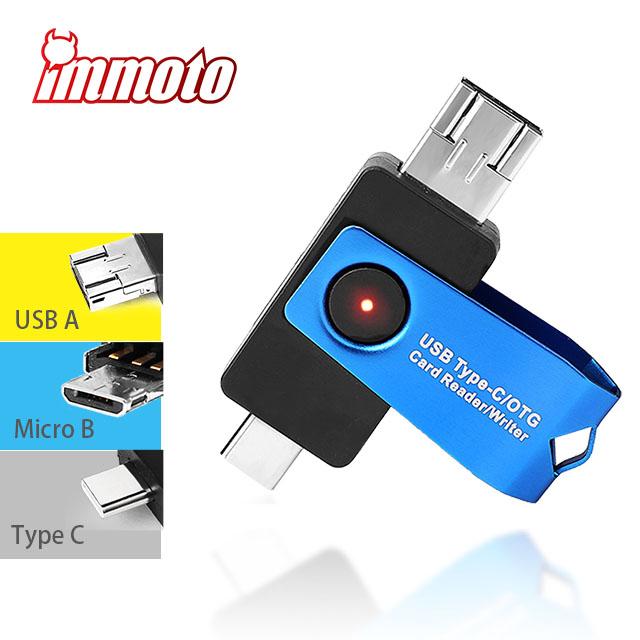 IMMOTO USB 3.1 Type C / MicroB / Type-A Micro SD(TF)記憶卡 3合一讀卡機 OTG 隨插即用