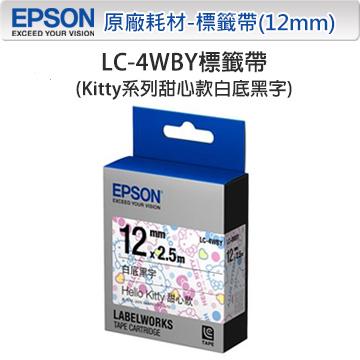 EPSON LC-4WBY C53S625058 Kitty系列甜心款白底黑字標籤帶(寬度12mm)