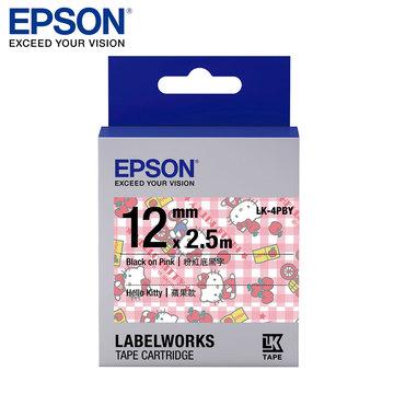 EPSON LK-4PBY C53S654450 Kitty系列蘋果款粉紅底黑字標籤帶(寬度12mm)