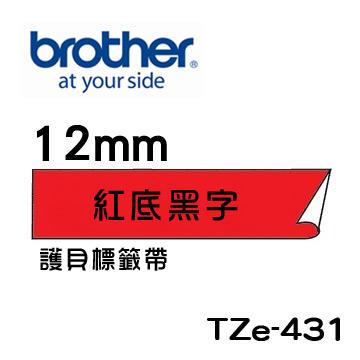 Brother TZe-431 護貝標籤帶 ( 12mm 紅底黑字 )