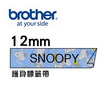 史努比標籤帶Brother TZe-UB31 護貝標籤帶 ( 12mm 藍色 )