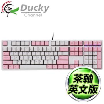 Ducky 創傑 One 茶軸 無背光 PBT熱昇華 白粉帽白蓋 機械式鍵盤《英文版》