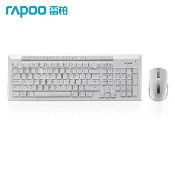 巧克力鍵盤,防濺灑設計雷柏 8200P 5G 無線光學鍵鼠組 (白)