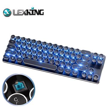 【LEXKING】迷你機械式復古打字機USB有線鍵盤(青軸-藍光)