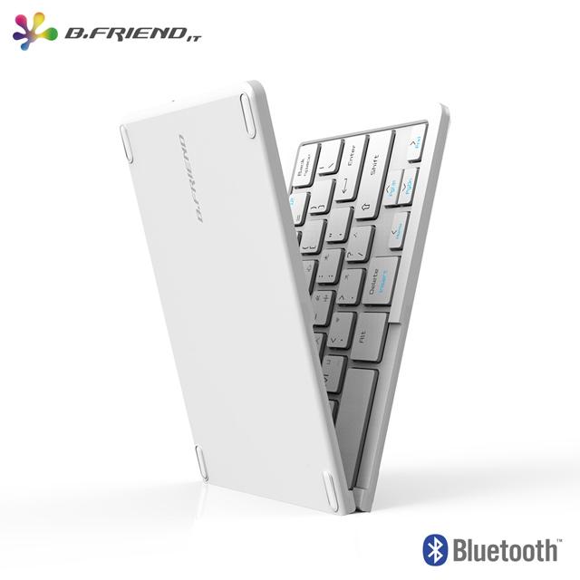 B.Friend BT-1245S一對三摺疊藍牙鍵盤-白
