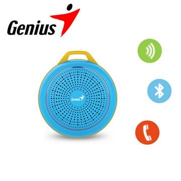 送原廠電競鍵盤Genius 昆盈 第二代 彩色精靈輕巧藍牙喇叭-湛粉藍(SP-906BT2-BL)