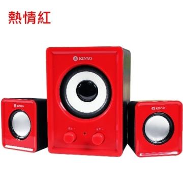 KINYO【音樂大師】魅力肆色USB 2.1立體擴大喇叭US-179 (熱情紅)