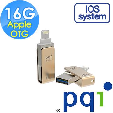 OTG 3.0★★本週熱銷款★★ PQI 勁永 Apple OTG USB 3.0 16GB iConnect mini 蘋果專用迷你金屬雙頭碟 (金)