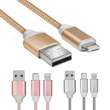 一頭兩用 iOS&安卓二合一 快速充電傳輸編織線(1M)
