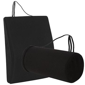 【源之氣】竹炭透氣記憶可調式腰墊+竹炭萬用圓柱護腰(9447+9453)