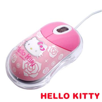 HELLO KITTY 玫瑰花紋光學滑鼠_粉(福利品
