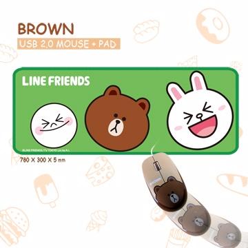 LINE FRIENDS 超手感 BROWN滑鼠 附防水鼠墊(可當桌墊使用喔!)