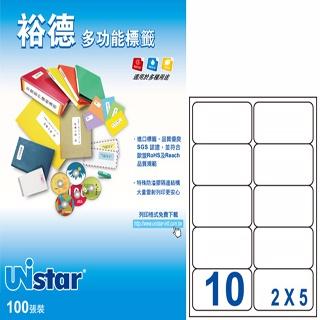 Unistar 裕德3合1標籤 US4268  圓角10格 (20張/包)