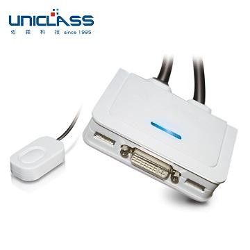 【UNICLASS】UDV-TA2 2埠整合線材型DVI USB KVM多電腦切換器