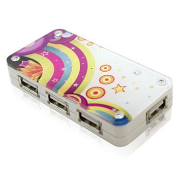 壓克力 USB2.0 4埠 HUB集線器 彩繪系列─ 星光彩虹 白色