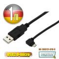 曜兆DIGITUS USB2.0轉microUSB左轉接頭線*1公尺手機傳輸線