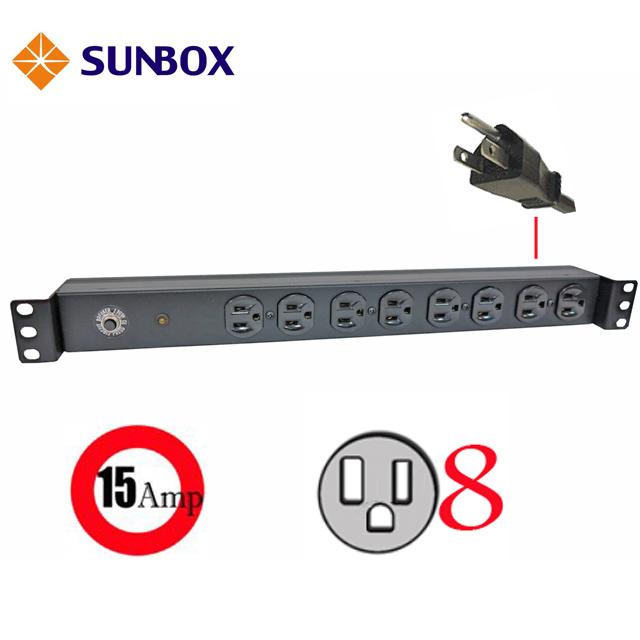SUNBOX 8埠15A機架型電源排插