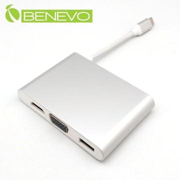 BENEVO USB3.1 Type-C轉HDMI影音/VGA+USB2.0+Gigalan轉接器,支援供電 (BUSBC2HVGUP)