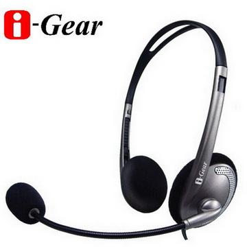 ★高CP值★i-Gear 頭戴式立體聲耳機麥克風(灰)