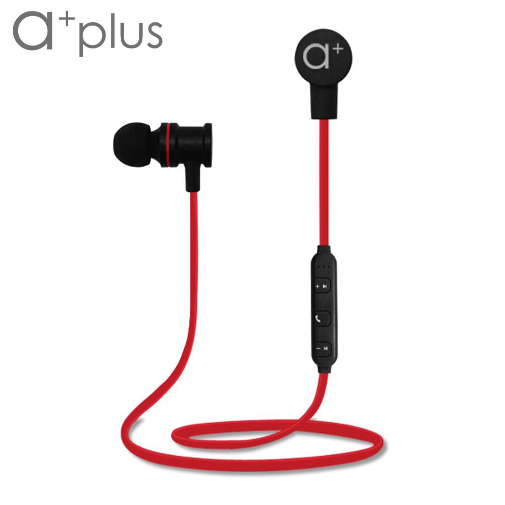 ★耳機磁吸式設計,時尚及實用兼具★a+plus 磁吸式運動防水藍芽耳機 ABT-302 - 烈火紅