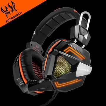 7彩冷光炫色燈效!Kotion each 七彩LED燈效電競重低音環繞耳罩式耳機(G5000)