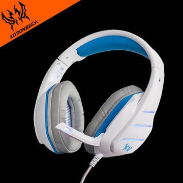 高靈敏降噪麥克風 可120度調整角度 !Kotion each LED冷光燈效電競重低音耳罩式線控耳機(GS800)-白藍