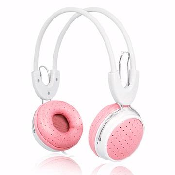 IP-806 皮革透氣耳罩式耳機麥克風(線控)-粉紅