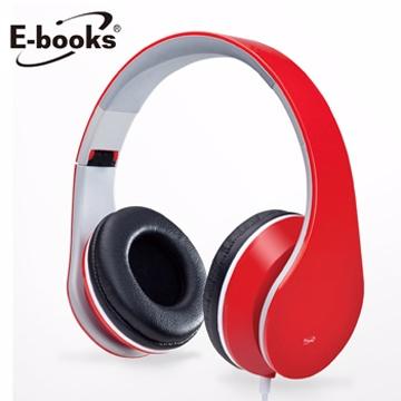 E-books G3 跨界摺疊高音質全罩耳機-紅