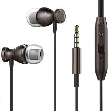 潮時尚3.5MM磁吸式線控耳機-黑色